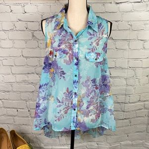 Eyelash Couture Floral High Low Pleated Back Top